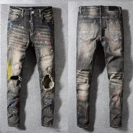 Black Paintings NZ - Unique Mens Painted Retro Black Skinny Jeans Stretch Designer Ripped Slim Fit Motorcycle Biker Washed Beggar Hip Hop Denim Pants 583