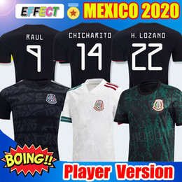 soccer jerseys player version 2020 - Player Version 2020 Mexico Soccer Jersey National New Away White 19 20 Black CHICHARITO LOZANO GUARDADO CARLOS VELA RAUL