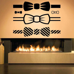 girls nursery decorations UK - Classic Bow Tie Fashion Pattern Vinyl Home Wall Stickers for Living Room Sweet Decoration Wall Decals Bedroom Girls Nursery