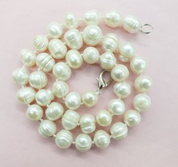 "China Wow 16""12-14mm White Baroque Freshwater Cultured Pearl Necklace 50cm (note   Flawed) J190712 cheap 14mm coin pearls suppliers"