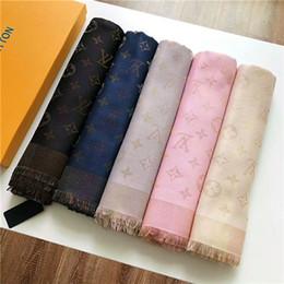 $enCountryForm.capitalKeyWord Australia - Brand style women's scarf shiny gold thread shawl knit jacquard letters wool cotton fashionable square scarf 140 cm -140 cm