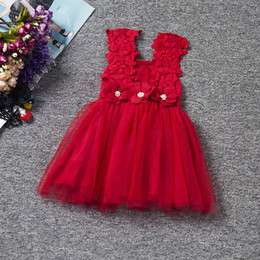 Chinese Evening Clothes Australia - Retail girls hollow strap dress baby girl flower appliqued pearl beading lace sleeveless skirts evening dresses party skirts kids clothing