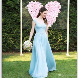 $enCountryForm.capitalKeyWord Australia - Elegant Light Sky Blue Lace Bridesmaid Dresses A Line V Neck Cap Sleeves Floor Length Ruched Chiffon Long Prom Gowns Cheap Party Dress