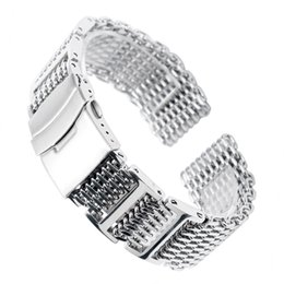 $enCountryForm.capitalKeyWord UK - 20 22 24mm Hq Shark Mesh Silver Stainless Steel Watchband Replacement Bracelet Men Folding Clasp With Safety Watch Band Strap T190620