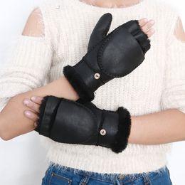 $enCountryForm.capitalKeyWord UK - YCFUR Fashion Women Gloves Mittens Winter Heavy Warm Fur Lining Sheep Leather Fur Gloves For Women Sheepskin Glove Female D19011005