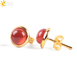 Gold Color Crystals Australia - CSJA Cute Tiny Round Stud Earrings for Women Gold Color Ear Piercing Natural Gem Stone Bead Onyx Black Crystal Earring E596