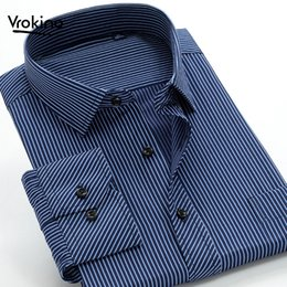 Chinese  Listed In Spring and Autumn of 2019 Plus Large Size Large 8XL9XL 10XL Men Business Leisure Classic Stripe Shirt Men Cotton Shir manufacturers
