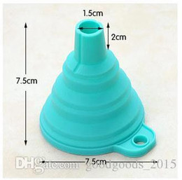 kitchen styles NZ - Silicone Foldable Funnel Mini Silicone Collapsible Style Funnel Folding Portable Funnels Be Hung Kitchen Tool c136