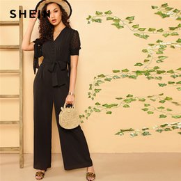 5c24fe3d9e SHEIN Boho Black Knotted Sleeve Half Placket Palazzo Belted Jumpsuit Women  Summer Solid High Street Casual Wide Leg