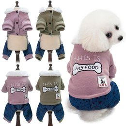Winter Figures Australia - Dog autumn and winter new dogs clothes warm winter warm pet clothing two-color splicing bones figure four feet cotton clothes