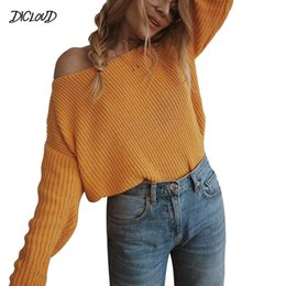 flattering line dresses Canada - Strapless Shoulde Casual Sweaters Women Slash Neck Flat Knitted Loose Long Sleeve Pullovers Ladies Plus Size Tops Ladies 3XL