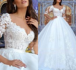 3d lace wedding dresses Australia - Glamorous Handmade Flowers Ball Gown Wedding Dresses Long Sleeves 3D Lace Appliqued Garden Bridal Gown V Neck Plus Size Vestidos AL3159