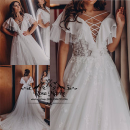 cheap winter style wedding dresses NZ - Modest Plus Size Country Beach Wedding Dresses 2020 A Line Backless Vintage Lace Chiffon Boho Greek Style Cheap Bridal Gown Vestido De Novia