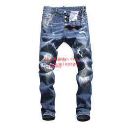 men pants italy Australia - 2019 Fashion Top quality mens jeans Shredded slim straight pants man brand clothes for mens Pants Fashion Holes Trousers Italy man clothes
