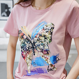 $enCountryForm.capitalKeyWord Australia - Shintimes Tee Shirt Femme Tshirt With Sequins T Shirt Women Summer Tops Casual T-shirt Short Sleeve Camisetas Mujer Verano 2018 Y19072001