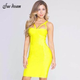 Yellow Evening Gown S Australia - 2017 Summer Women Bodycon Bandage Dress Yellow Sleeveless Strap Hollow Out Celebrity Evening Club Wear Runway Party Dress Y19052901