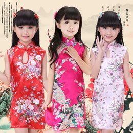 $enCountryForm.capitalKeyWord Australia - Drop Collar Toddler Kids Girls Oriental Chinese Traditional Costumes Sleeveless Cheongsams Vintage Wedding Girls Qipao Dress