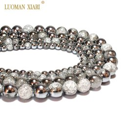 $enCountryForm.capitalKeyWord Australia - Wholesale One Side Plated Silvery White Snow Cracked Crystal Natural Stone Beads For Jewelry Making DIY Bracelet Necklace 6-12mm