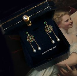 Baroque Paintings Australia - Vintage Baroque and Palace Oil Painting Style Nature High Quality Pearl and Green Crystal Women Earring S925 Silver Gold Filled