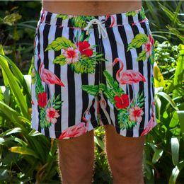 $enCountryForm.capitalKeyWord NZ - Hot Selling 2019 Summer Men Beachwear Flamingos Floral Prints Striped Swimming Trunks For Men Bathing Swimwear Boardshorts 6