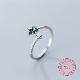 $enCountryForm.capitalKeyWord Australia - Size 5.5 ~ 7.5 fashion s925 sterling silver ring beautiful blue rhinestone charming star adjustable size design finger ring female jewelry