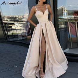 $enCountryForm.capitalKeyWord Australia - Custom Made A Line Royal Blue Spaghetti Straps Sweetheart Prom Dress With High Slit Satin Long Evening Gown 2019 Y19051401