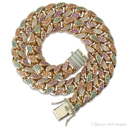 $enCountryForm.capitalKeyWord Australia - 14mm 18 22inch Rainbow Cuban Link Copper Zicron Hip Hop Jewelry Designer Jewelry Rope Chain Iced Out Chains Mens Necklace