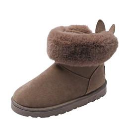 Women leather boot rabbit online shopping - Autumn and winter short rabbit ears Australia snow boots women plus velvet student cotton shoes flat shoes cute feet boots new fashion