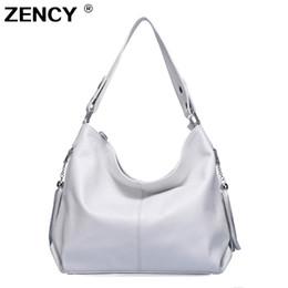 $enCountryForm.capitalKeyWord Australia - Zency 100% Genuine Leather Women Handbag First Layer Cow Leather Long Handle Shoulder Bag Satchel White Silver Gray Pink Bags Y19061803