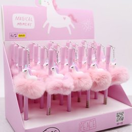$enCountryForm.capitalKeyWord NZ - Unicorn Party Favors Pens Kawaii Plush Pendant Pen For Kids Birthday Wedding Favors Gifts to Guests Baby Shower Decorations
