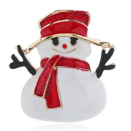 $enCountryForm.capitalKeyWord UK - red hat snowman brooch pins women Christmas brooches gifts cute alloy pin jewelry for girl merry Christmas accessories free shipping
