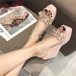 glasses straps NZ - Hot2019 Crystal With Slope Sandals Within Increase Thick Bottom All-match Glass Gel Beads Piece Shoe Woman