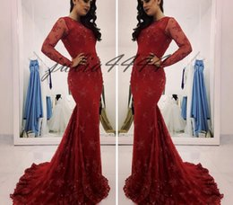$enCountryForm.capitalKeyWord Australia - Burgundy Prom Dresses 2019 Lace Applique Sequin Formal Long Sleeves Evening Party Pageant Gown Mermaid Square Neck Chapel Train Black Girl