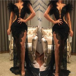 sexy see through black dress NZ - 2020 New Black Lace Prom Dress Split Formal Party Pageant Wear Sheath Feather Evening Dresses Sexy V Neck See Through 1472