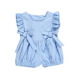 $enCountryForm.capitalKeyWord UK - Summer Baby kids clothes Sleeveless Pleated Romper Jumpsuits Blue bow shorts crawling clothes kids designer clothes girls DHL JY371