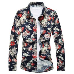 Plus Size Floral Shirt NZ - Floral Shirt Men Long Sleeve Shirts 2017 Fashion Men Hawaiian Shirt Luxury 6XL 7XL Plus Size Camisa Masculina High Quality T186