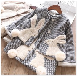 plush embroidery Australia - Fall Winter Kids thicken plaid woolen outfits girls plush pompon rabbit embroidery princess outwear+bunny vest dress 2pcs sets J0629