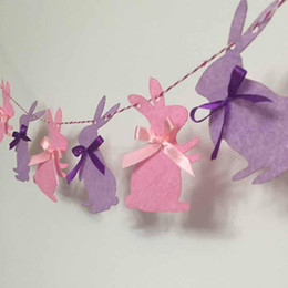 Children pink Cloth online shopping - Cute Easter Garland Children Favors Pink Purple Rabbits Cloth Banner Happy Birthday Party Decorations Home MMA1257