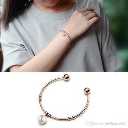 Steel Spring Bangles Australia - New arrival expandable bangles Elegant Pearl open bangle exquisite stainless steel bangle free shipping