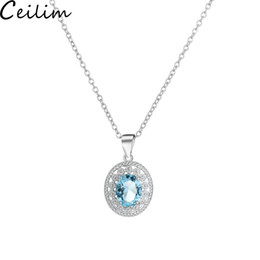 $enCountryForm.capitalKeyWord Australia - Hot Sale Sterling Silver Blue Crystal Rhinestone Pendant Necklace Simulated Gemstone Pendant Necklace for Women Girls Wholesale Jewelry