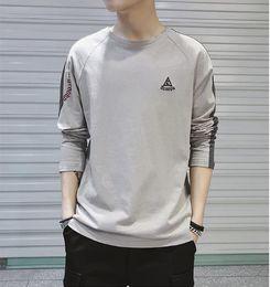 $enCountryForm.capitalKeyWord Australia - Long sleeve casual t shirt men Slim fit Drop sholder Black White Almond color O neck 2019 New