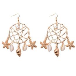 Earrings United States UK - Europe And The United States New Fashion Creative Natural Irregular Shell Earrings Starfish Pendant Earrings Design Female Beach