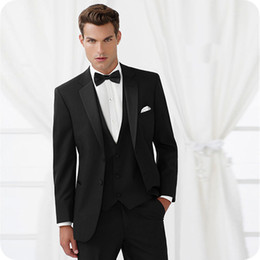 $enCountryForm.capitalKeyWord Canada - Custom Made Black Wedding Suits For Man Prom Slim Fit Formal Fashion Tuxedos Men Suit With Pants Male Groom Wear 3Pieces (Jacket+Pant+Vest)