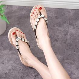 62a8506d8 White Diamond Flat Sandals Canada - Summer New Diamond Flat Sandals  Handmade Beaded Flip Flops Diamond