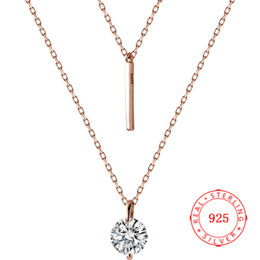 short chain designs Canada - Fashion Genuine 925 Sterling Silver 6 mm round CZ Bar Design Short Chain Necklace Elegant Rose Gold Plated Jewelry for Women
