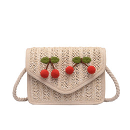 Chinese  New Wild Knitted Messenger Bags Girl Cute Cherry Shoulder Bag Fashion Personality Large Capacity Crossbody Bags Bohemian Messenger Packs manufacturers