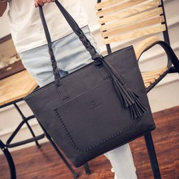Discount green tote bags wholesale - Fashion Women Handbags Tassel PU Leather Totes Bag Top-handle Embroidery Crossbody Bag Shoulder Lady Simple Hand Bags #T