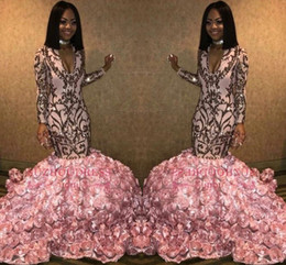AfricAn dresses online shopping - African Black Girls Pink Mermaid Long Prom Dresses Long Sleeves V Neck D Floral Flowers Floor Length Evening Party Gowns BC1363