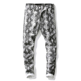 designer light fittings Australia - Personality Men Snake Skin Jeans Pants Club Wear Printed Denim Joggers For Youth Slim Fit Hip Hop Painted Trousers Punk Brand Designer Style