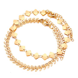 gold leaves Canada - Delicate Luxury Double Layer Gold Color Anklet Foot Bracelet for Women Girls Leaves and Rhombus Shape